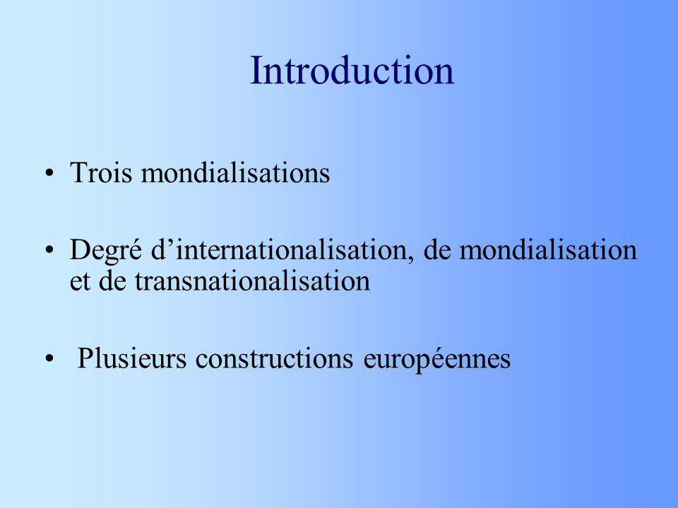 Introduction Trois mondialisations Degré dinternationalisation, de mondialisation et de transnationalisation Plusieurs constructions européennes