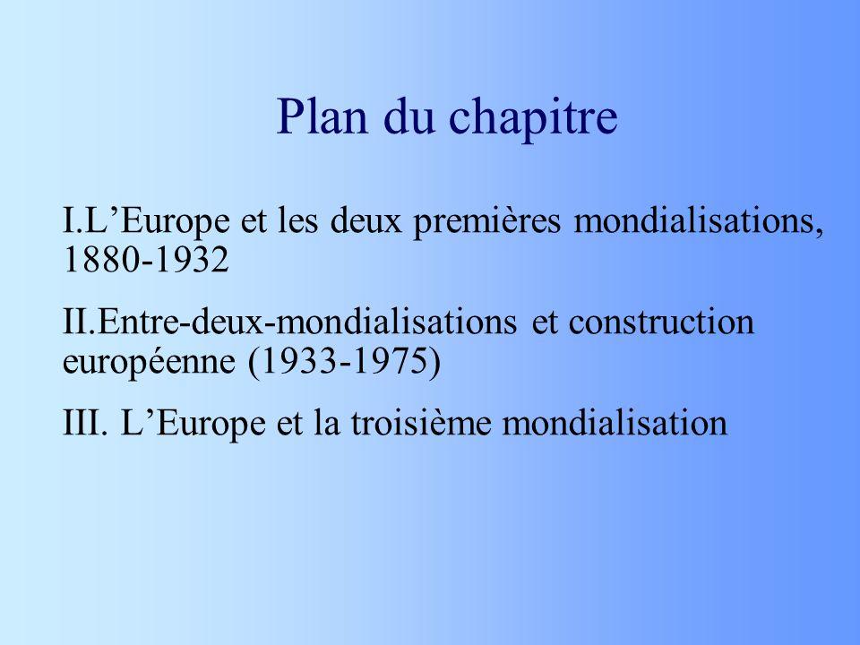 Plan du chapitre I.LEurope et les deux premières mondialisations, 1880-1932 II.Entre-deux-mondialisations et construction européenne (1933-1975) III.