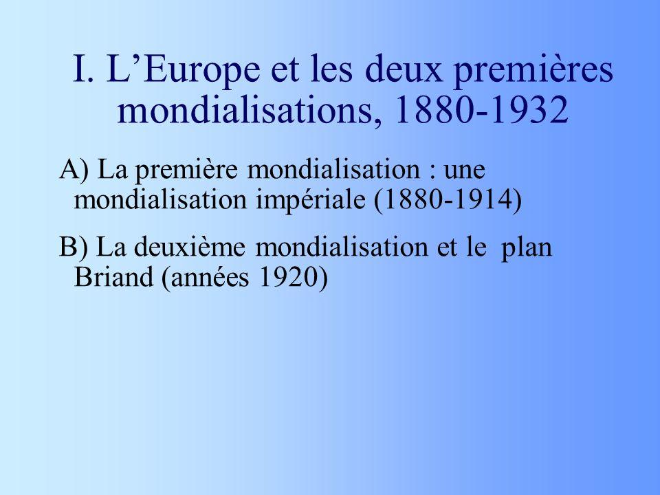 I. LEurope et les deux premières mondialisations, 1880-1932 A) La première mondialisation : une mondialisation impériale (1880-1914) B) La deuxième mo