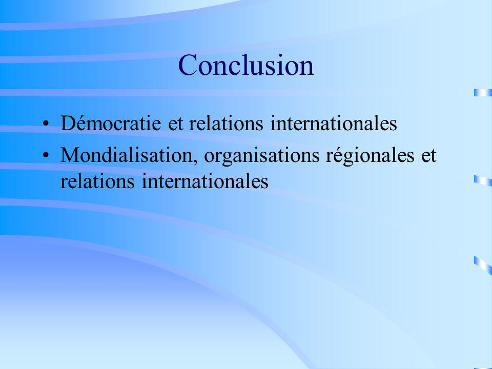 Conclusion Démocratie et relations internationales Mondialisation, organisations régionales et relations internationales