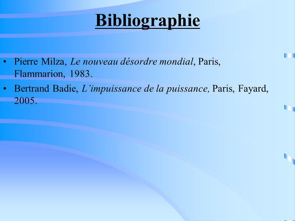 Bibliographie Pierre Milza, Le nouveau désordre mondial, Paris, Flammarion, 1983. Bertrand Badie, Limpuissance de la puissance, Paris, Fayard, 2005.