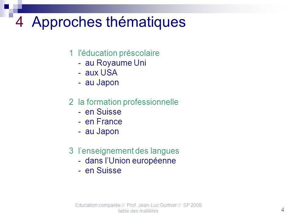 Education comparée /// Prof. Jean-Luc Gurtner /// SP 2009 table des matières 4 4 Approches thématiques 1 l'éducation préscolaire - au Royaume Uni - au