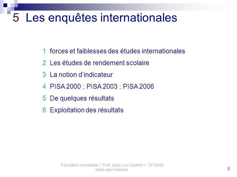 Education comparée /// Prof. Jean-Luc Gurtner /// SP 2009 table des matières 5 5 Les enquêtes internationales 1 forces et faiblesses des études intern