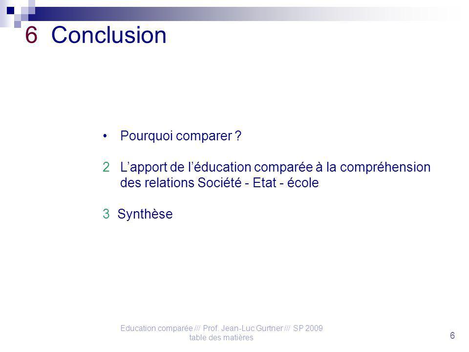 Education comparée /// Prof. Jean-Luc Gurtner /// SP 2009 table des matières 6 6 Conclusion Pourquoi comparer ? 2Lapport de léducation comparée à la c