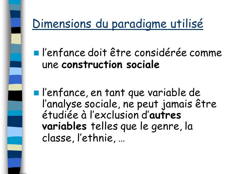 Dimensions du paradigme utilisé lenfance doit être considérée comme une construction sociale lenfance, en tant que variable de lanalyse sociale, ne peut jamais être étudiée à lexclusion dautres variables telles que le genre, la classe, lethnie, …