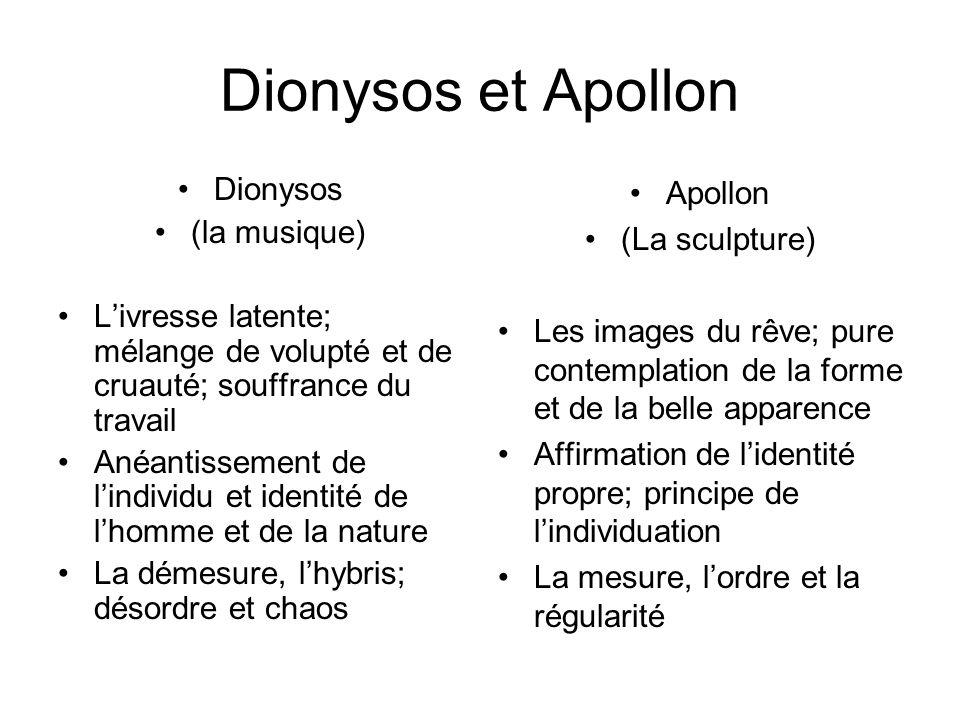 Dionysos et Apollon Dionysos (la musique) Livresse latente; mélange de volupté et de cruauté; souffrance du travail Anéantissement de lindividu et ide