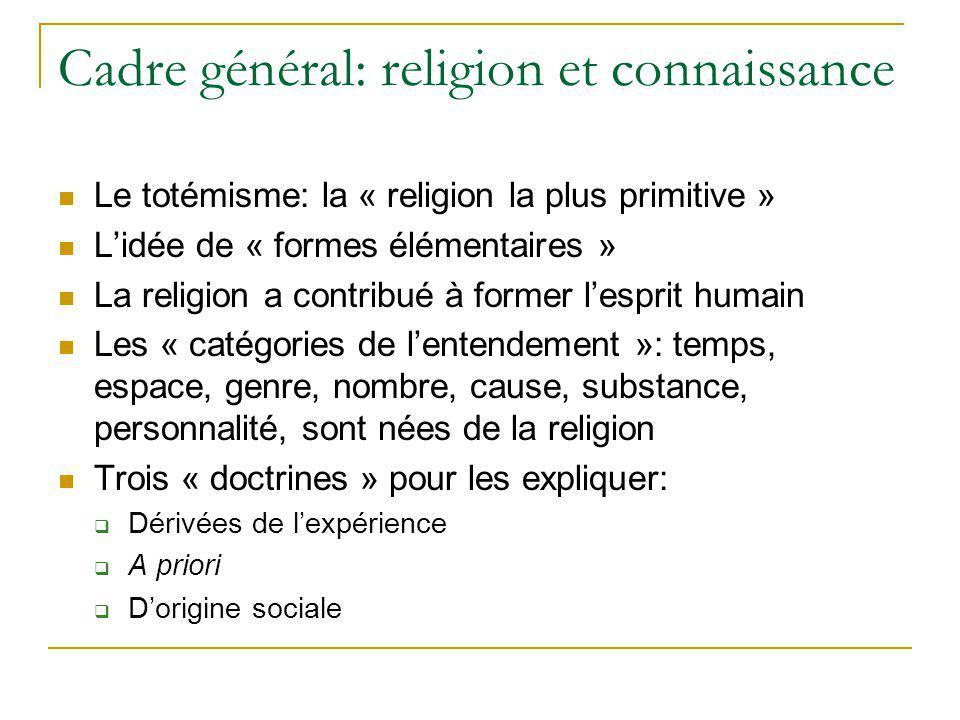 Cadre général: religion et connaissance Le totémisme: la « religion la plus primitive » Lidée de « formes élémentaires » La religion a contribué à for