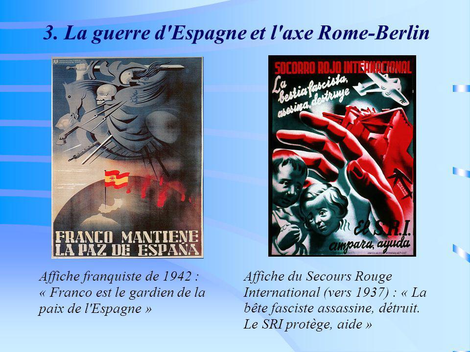 3. La guerre d'Espagne et l'axe Rome-Berlin Affiche franquiste de 1942 : « Franco est le gardien de la paix de l'Espagne » Affiche du Secours Rouge In