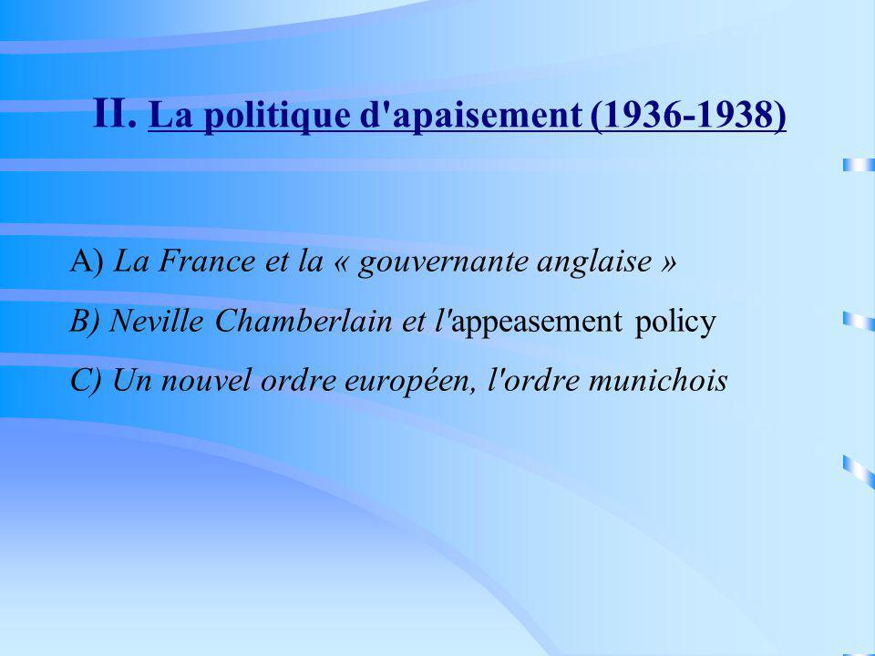 II. La politique d'apaisement (1936-1938) A) La France et la « gouvernante anglaise » B) Neville Chamberlain et l'appeasement policy C) Un nouvel ordr