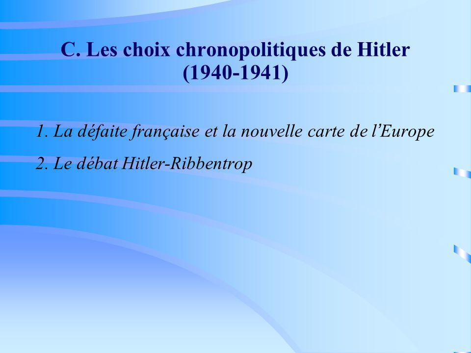 C. Les choix chronopolitiques de Hitler (1940-1941) 1. La défaite française et la nouvelle carte de l Europe 2. Le débat Hitler-Ribbentrop