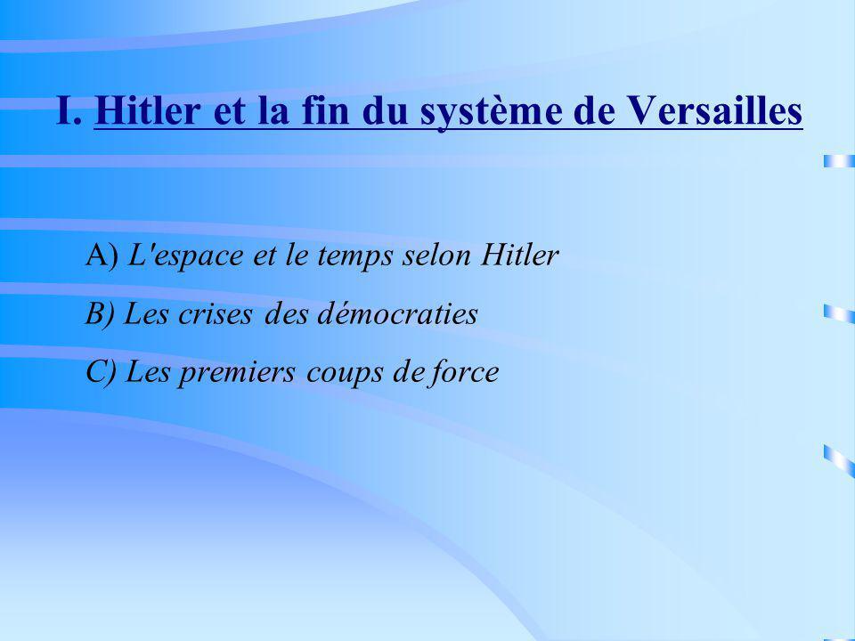 I. Hitler et la fin du système de Versailles A) L'espace et le temps selon Hitler B) Les crises des démocraties C) Les premiers coups de force