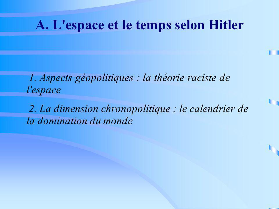 A. L'espace et le temps selon Hitler 1. Aspects géopolitiques : la théorie raciste de l'espace 2. La dimension chronopolitique : le calendrier de la d