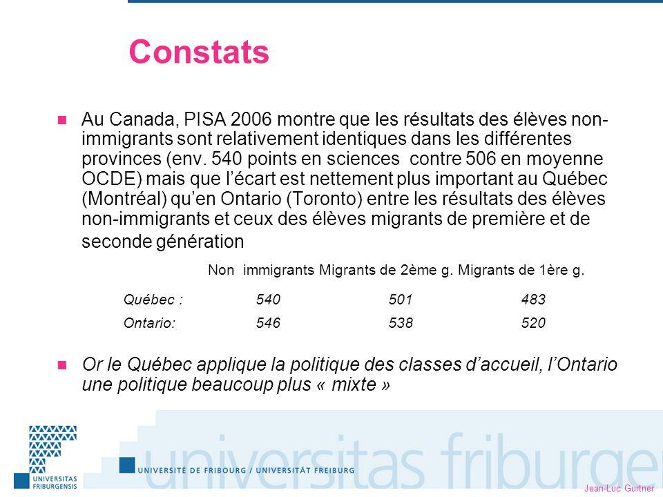 Jean-Luc Gurtner Constats Au Canada, PISA 2006 montre que les résultats des élèves non- immigrants sont relativement identiques dans les différentes provinces (env.