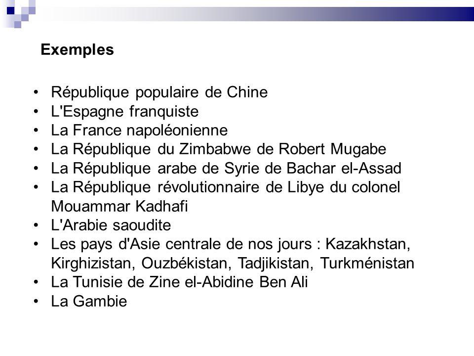 Exemples République populaire de Chine L'Espagne franquiste La France napoléonienne La République du Zimbabwe de Robert Mugabe La République arabe de