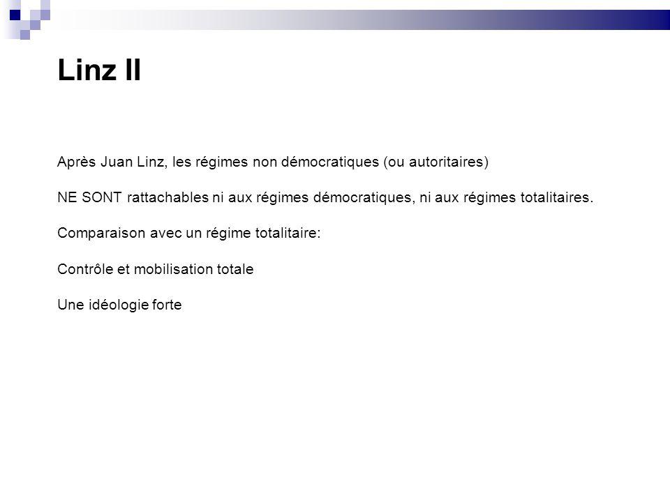 Linz II Après Juan Linz, les régimes non démocratiques (ou autoritaires) NE SONT rattachables ni aux régimes démocratiques, ni aux régimes totalitaire