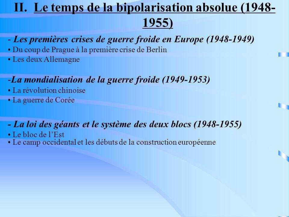 II. Le temps de la bipolarisation absolue (1948- 1955) - Les premières crises de guerre froide en Europe (1948-1949) Du coup de Prague à la première c