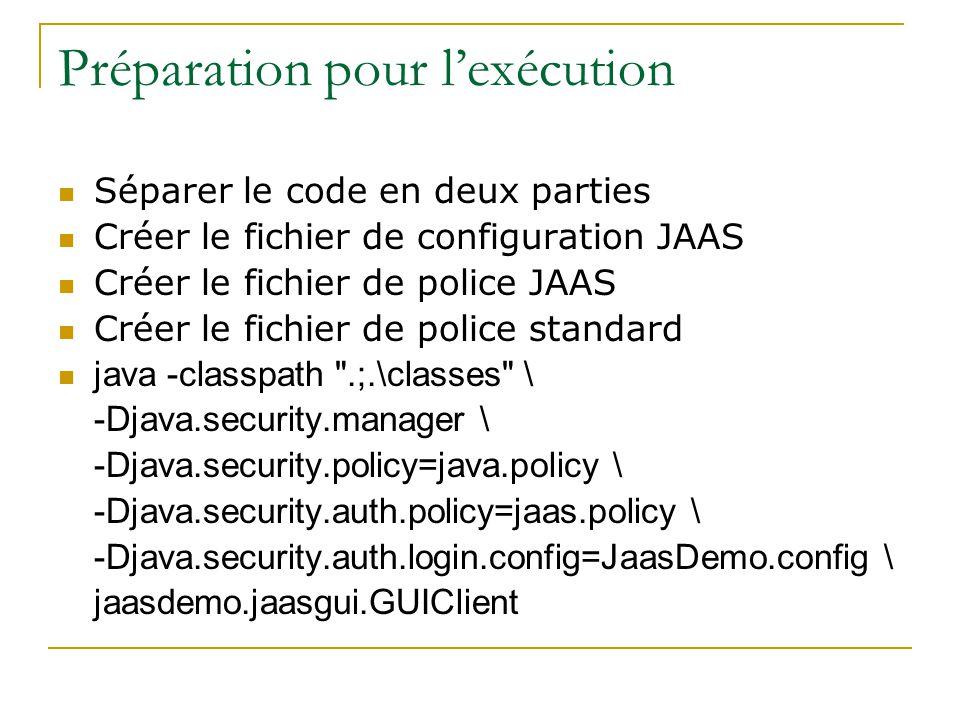 Préparation pour lexécution Séparer le code en deux parties Créer le fichier de configuration JAAS Créer le fichier de police JAAS Créer le fichier de police standard java -classpath .;.\classes \ -Djava.security.manager \ -Djava.security.policy=java.policy \ -Djava.security.auth.policy=jaas.policy \ -Djava.security.auth.login.config=JaasDemo.config \ jaasdemo.jaasgui.GUIClient