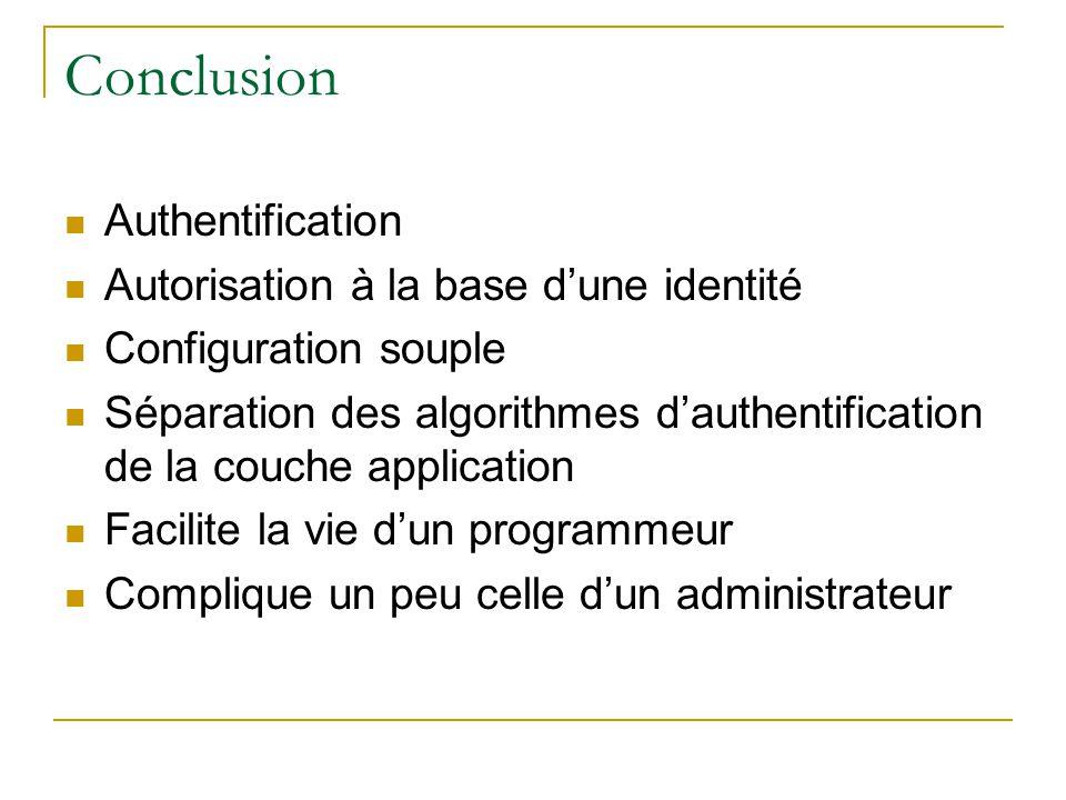 Conclusion Authentification Autorisation à la base dune identité Configuration souple Séparation des algorithmes dauthentification de la couche application Facilite la vie dun programmeur Complique un peu celle dun administrateur