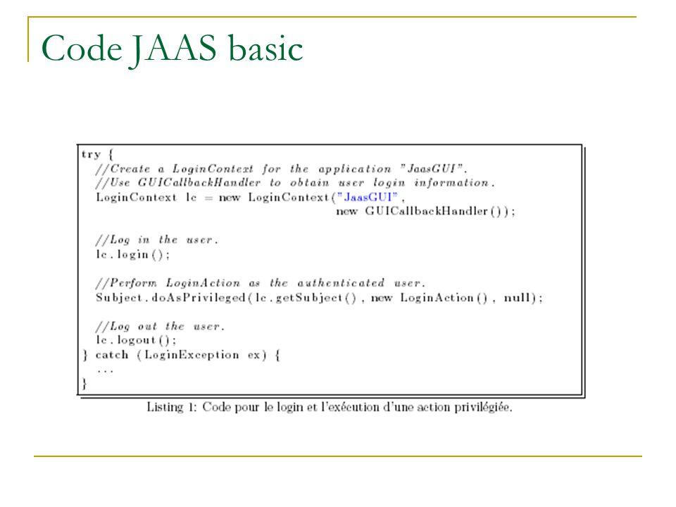 Programmation avec JAAS LoginContext Contexte pour authentifier un utilisateur Configuration du login dans un fichier Subject Représente un utilisateur authentifié Encapsule un tableau de Principal s Un Principal représente une propriété dun utilisateur: No AVS, Nom WinNT ou Solaris etc.