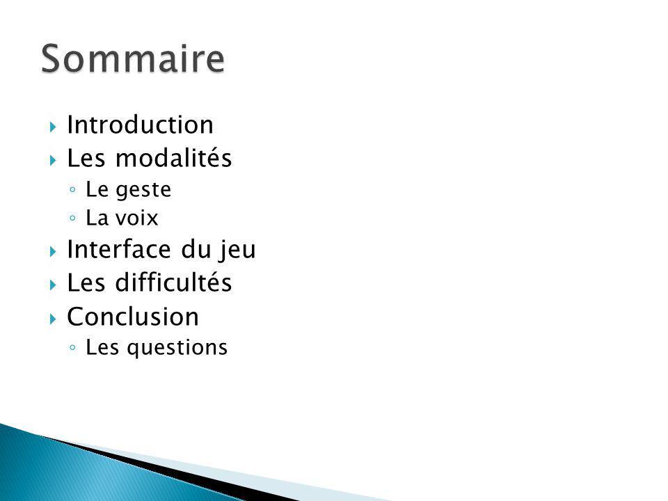 Introduction Les modalités Le geste La voix Interface du jeu Les difficultés Conclusion Les questions