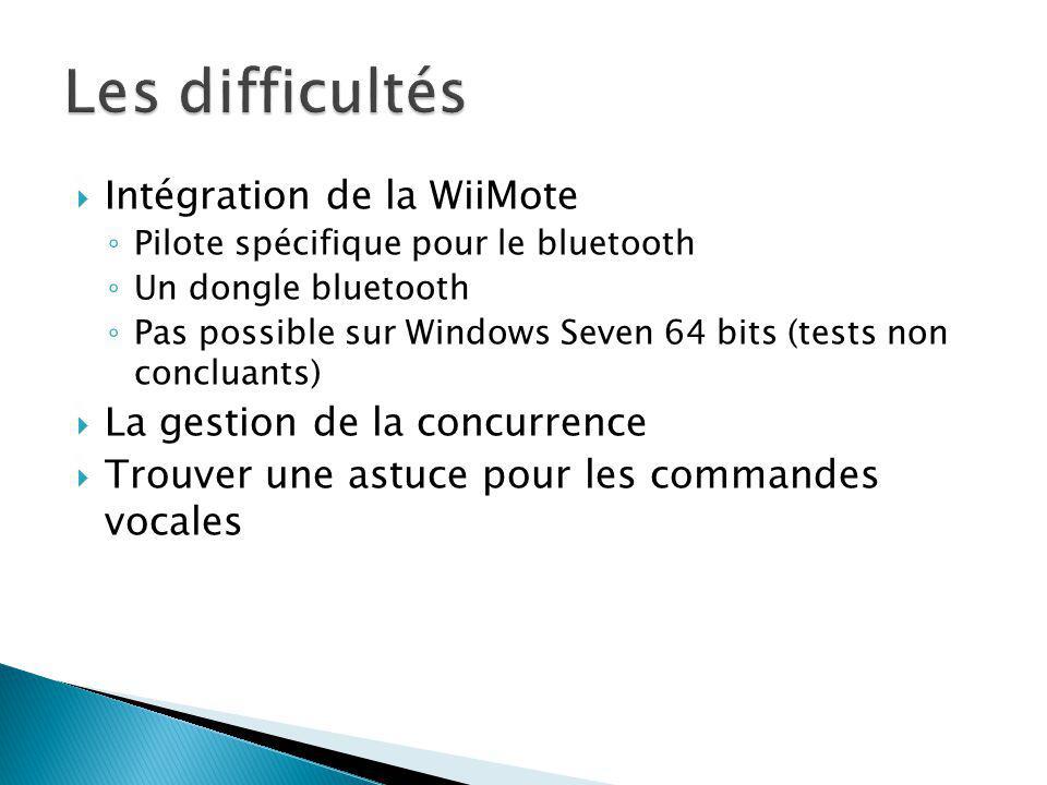 Intégration de la WiiMote Pilote spécifique pour le bluetooth Un dongle bluetooth Pas possible sur Windows Seven 64 bits (tests non concluants) La gestion de la concurrence Trouver une astuce pour les commandes vocales