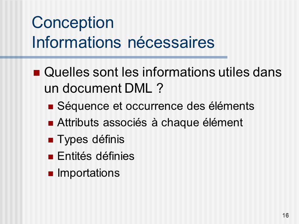 16 Conception Informations nécessaires Quelles sont les informations utiles dans un document DML .
