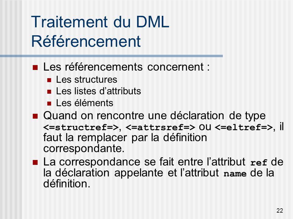 22 Traitement du DML Référencement Les référencements concernent : Les structures Les listes dattributs Les éléments Quand on rencontre une déclaration de type, ou, il faut la remplacer par la définition correspondante.