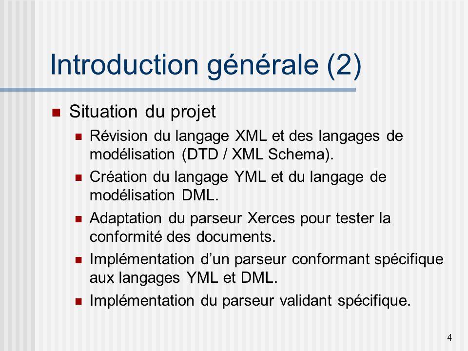 4 Introduction générale (2) Situation du projet Révision du langage XML et des langages de modélisation (DTD / XML Schema).
