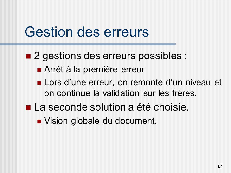 51 Gestion des erreurs 2 gestions des erreurs possibles : Arrêt à la première erreur Lors dune erreur, on remonte dun niveau et on continue la validation sur les frères.