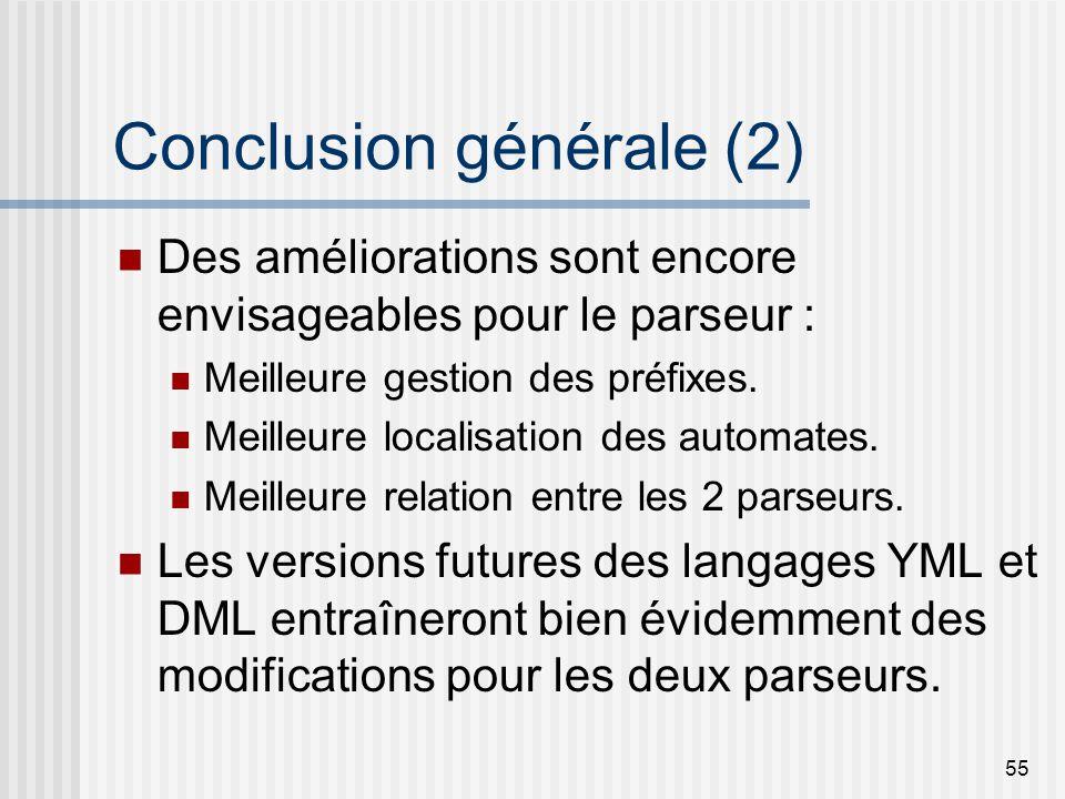 55 Conclusion générale (2) Des améliorations sont encore envisageables pour le parseur : Meilleure gestion des préfixes.