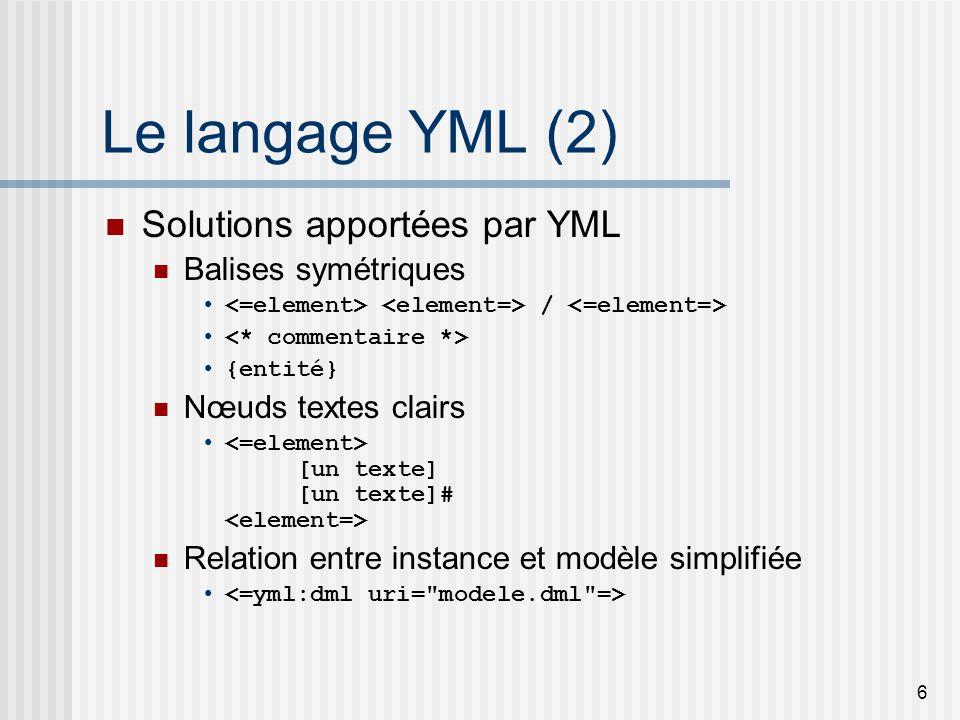 6 Le langage YML (2) Solutions apportées par YML Balises symétriques / {entité} Nœuds textes clairs [un texte] [un texte]# Relation entre instance et modèle simplifiée