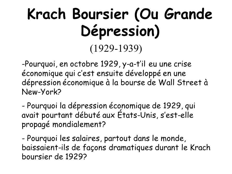 Krach Boursier (Ou Grande Dépression) (1929-1939) -Pourquoi, en octobre 1929, y-a-til eu une crise économique qui cest ensuite développé en une dépression économique à la bourse de Wall Street à New-York.