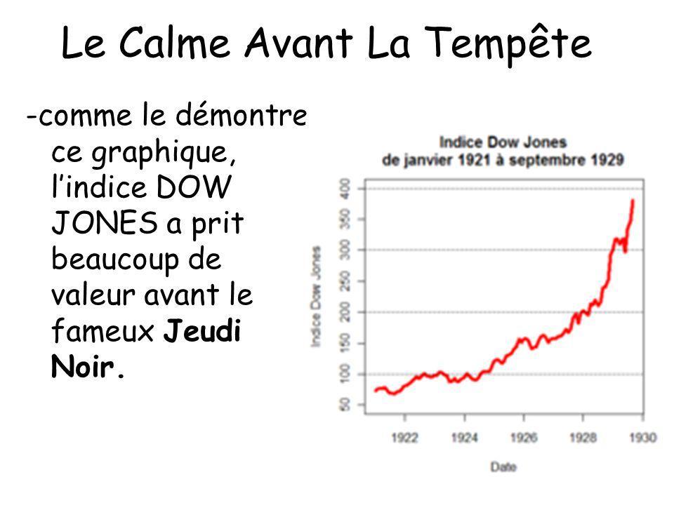 Le Calme Avant La Tempête -comme le démontre ce graphique, lindice DOW JONES a prit beaucoup de valeur avant le fameux Jeudi Noir.