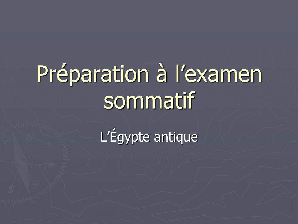 Préparation à lexamen sommatif LÉgypte antique