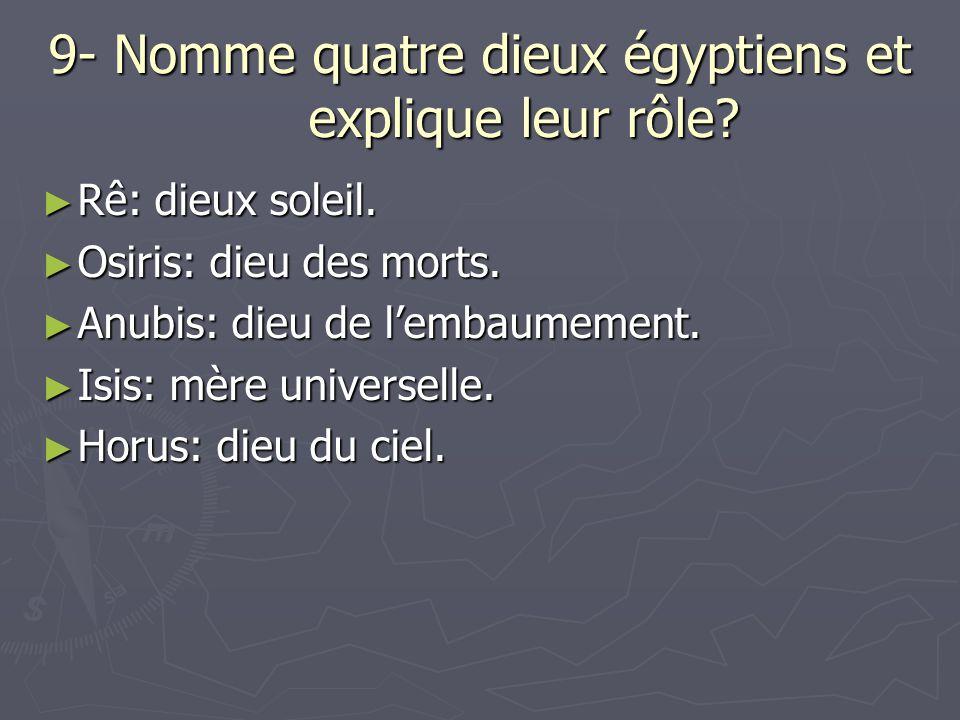 9- Nomme quatre dieux égyptiens et explique leur rôle? Rê: dieux soleil. Rê: dieux soleil. Osiris: dieu des morts. Osiris: dieu des morts. Anubis: die