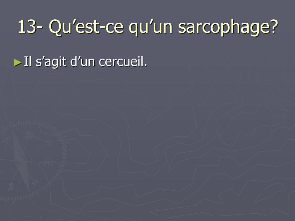 13- Quest-ce quun sarcophage? Il sagit dun cercueil. Il sagit dun cercueil.