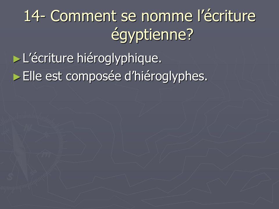 14- Comment se nomme lécriture égyptienne? Lécriture hiéroglyphique. Lécriture hiéroglyphique. Elle est composée dhiéroglyphes. Elle est composée dhié