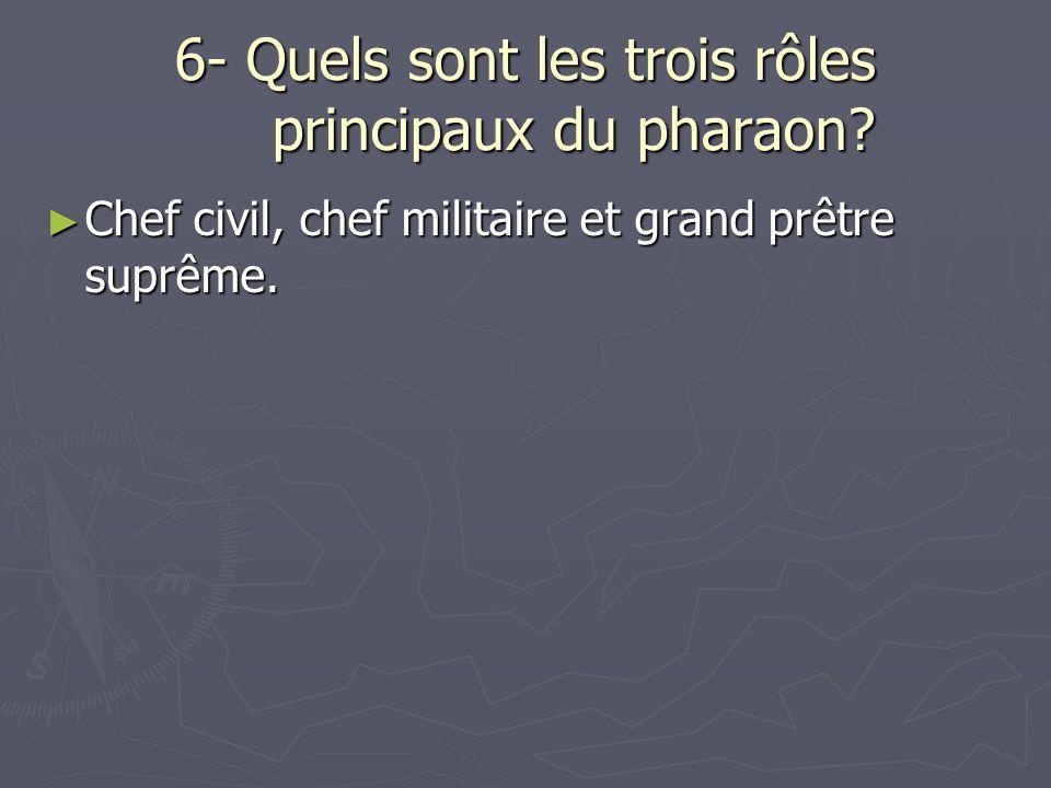 6- Quels sont les trois rôles principaux du pharaon? Chef civil, chef militaire et grand prêtre suprême. Chef civil, chef militaire et grand prêtre su