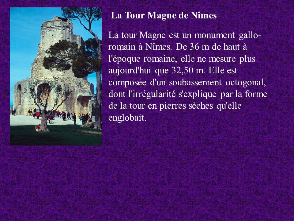 La Tour Magne de Nîmes La tour Magne est un monument gallo- romain à Nîmes. De 36 m de haut à l'époque romaine, elle ne mesure plus aujourd'hui que 32