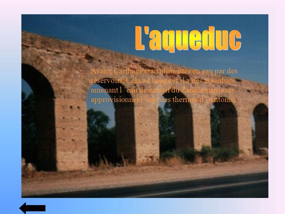 Avant, Carthage était alimentée en eau par des réservoirs, Cela a change et il a des aqueducs amenant l eau de massif du Zanghouan pour approvisionner