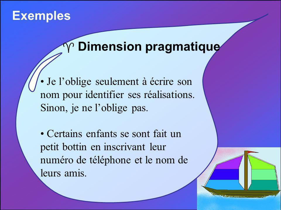 Exemples ^ Dimension pragmatique Je loblige seulement à écrire son nom pour identifier ses réalisations.