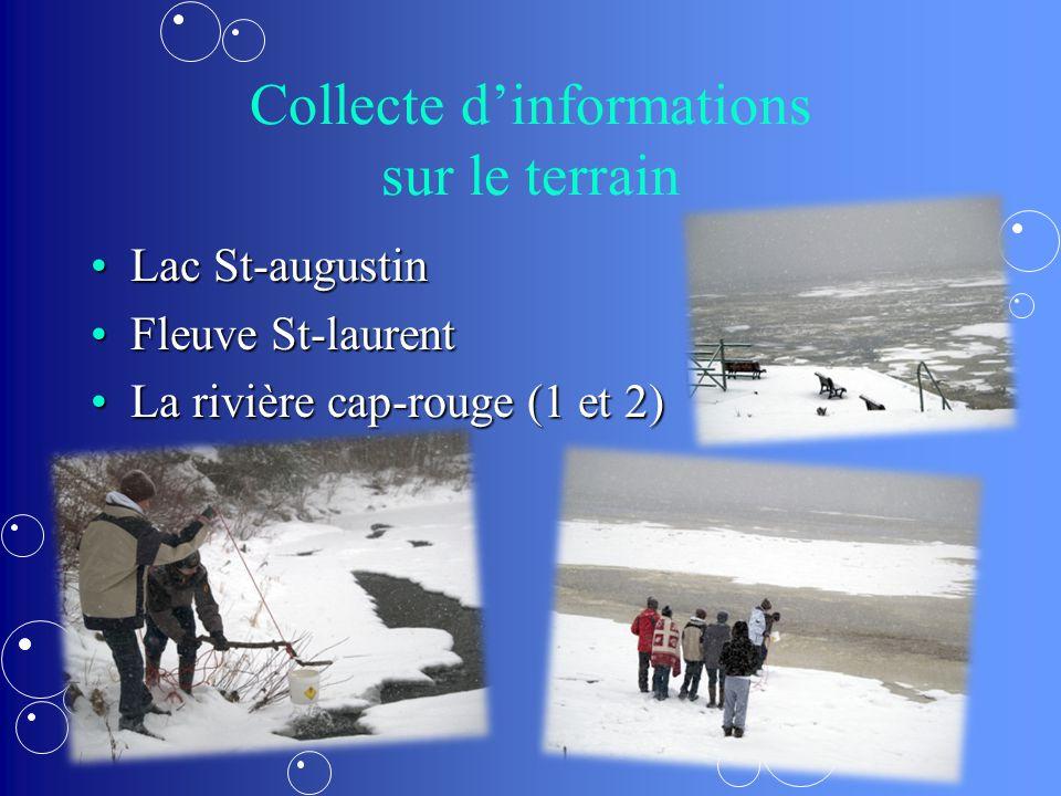 Collecte dinformations sur le terrain Lac St-augustinLac St-augustin Fleuve St-laurentFleuve St-laurent La rivière cap-rouge (1 et 2)La rivière cap-rouge (1 et 2)