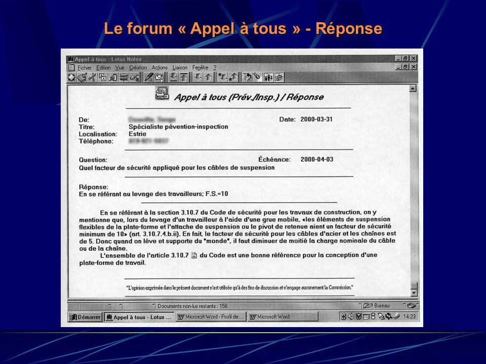 Le forum « Appel à tous » - Réponse