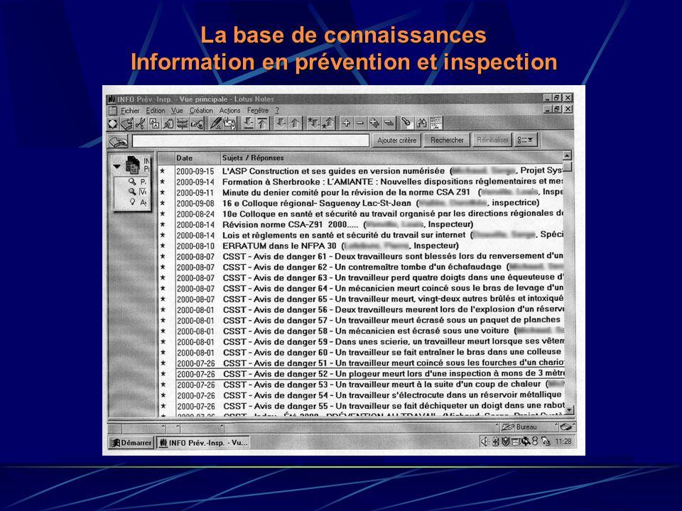 La base de connaissances Information en prévention et inspection