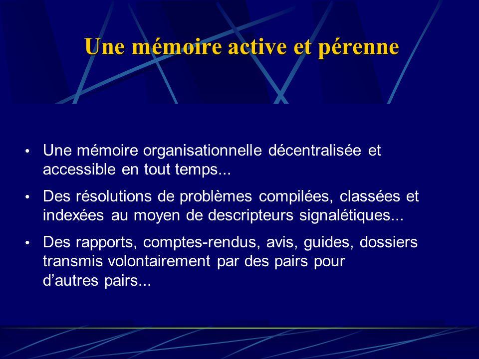 Une mémoire active et pérenne Une mémoire organisationnelle décentralisée et accessible en tout temps...