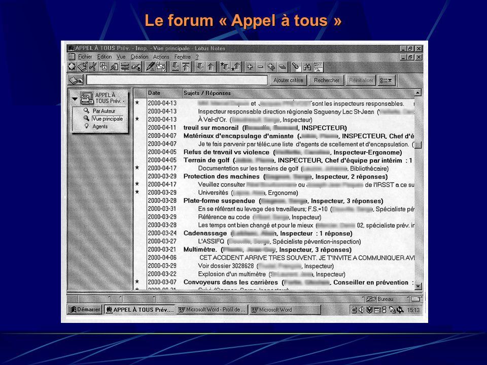 Le forum « Appel à tous » - Question