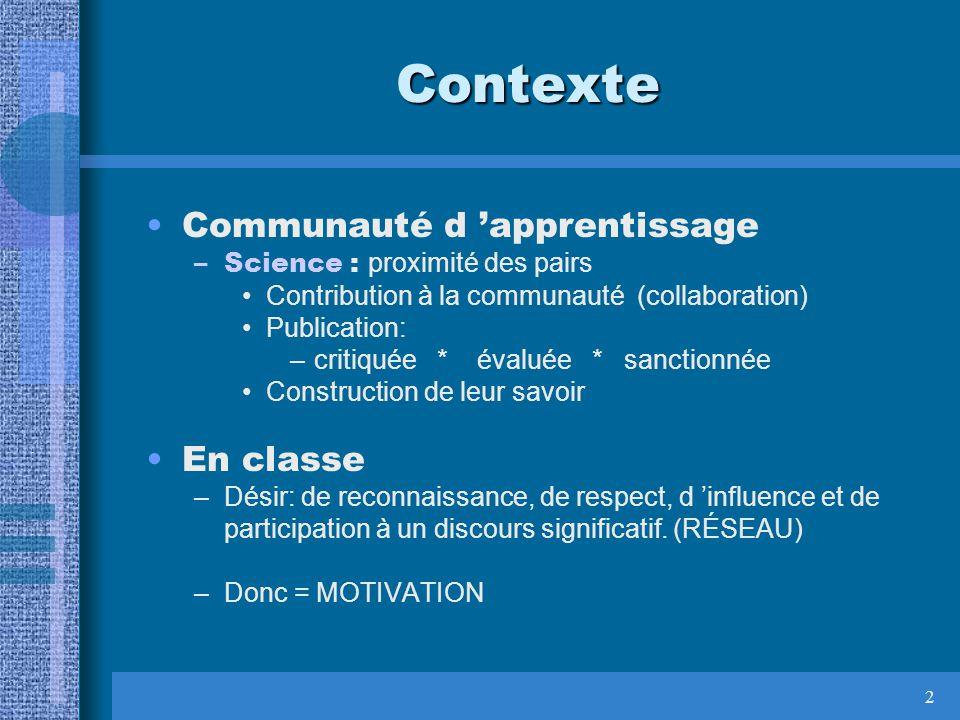 2 Contexte Communauté d apprentissage –Science : proximité des pairs Contribution à la communauté (collaboration) Publication: –critiquée * évaluée *