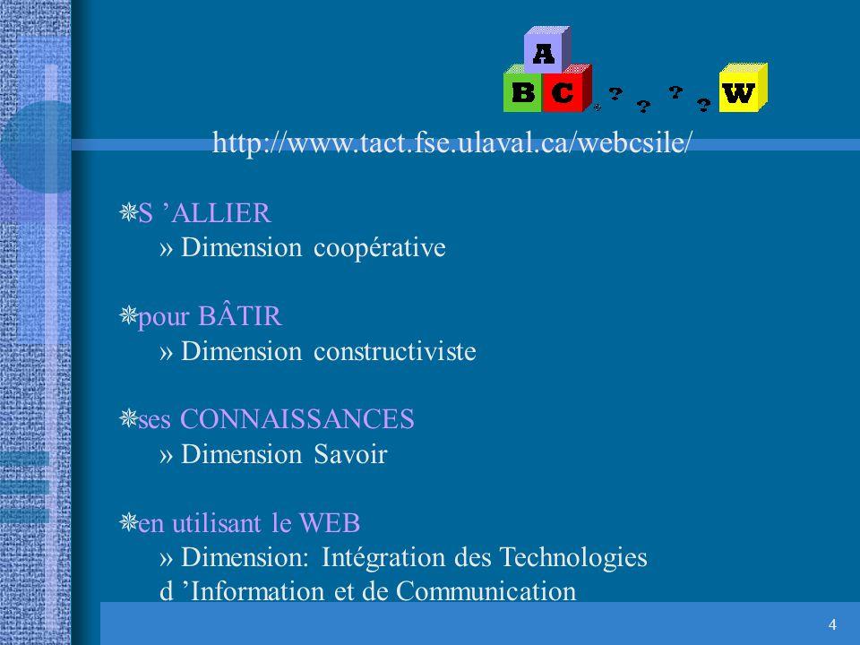 4 http://www.tact.fse.ulaval.ca/webcsile/ ¯ S ALLIER » Dimension coopérative ¯ pour BÂTIR » Dimension constructiviste ¯ ses CONNAISSANCES » Dimension