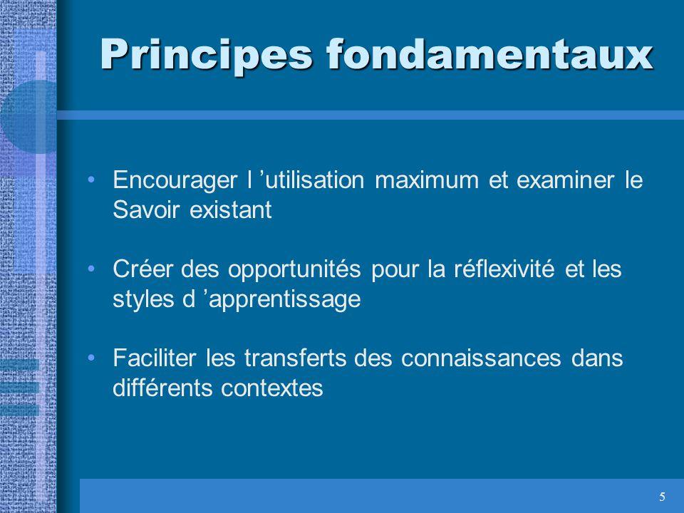 5 Principes fondamentaux Encourager l utilisation maximum et examiner le Savoir existant Créer des opportunités pour la réflexivité et les styles d ap