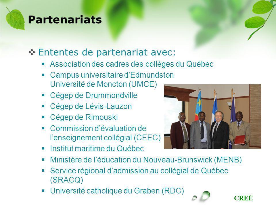 CREÉ Partenariats Ententes de partenariat avec: Association des cadres des collèges du Québec Campus universitaire dEdmundston Université de Moncton (UMCE) Cégep de Drummondville Cégep de Lévis-Lauzon Cégep de Rimouski Commission dévaluation de lenseignement collégial (CEEC) Institut maritime du Québec Ministère de léducation du Nouveau-Brunswick (MENB) Service régional dadmission au collégial de Québec (SRACQ) Université catholique du Graben (RDC)